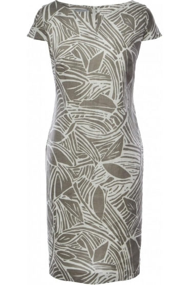 Abstract Print Linen Dress - Beige - 6047