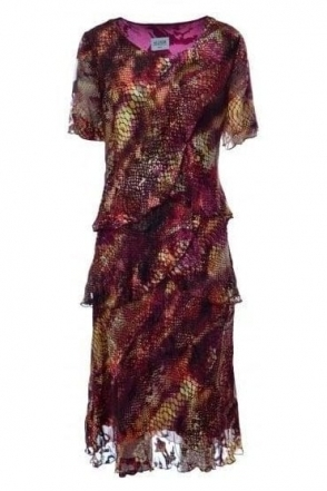 Animal Print Silk Dress (Burgundy) - 4797