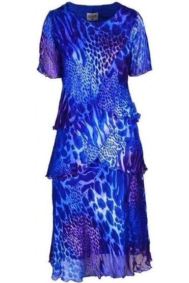 Animal Print Silk Dress - Royal Blue - 4797