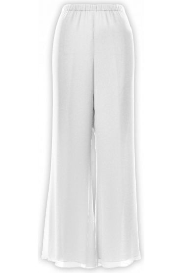 Chiffon Slit Detail Trousers (Ivory) - 250