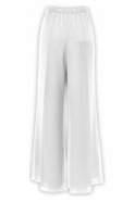 Allison Chiffon Slit Detail Trousers (Ivory) - 250