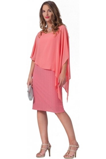 Fleck Textured Cape Dress - 4878