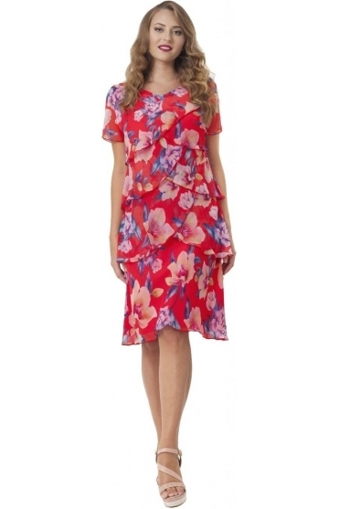 Floral Print Ruffle Dress - Red - 6022
