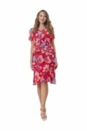 Allison Floral Print Ruffle Dress - Red - 6022