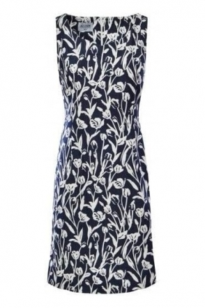 Floral Print Sleeveless Dress - Navy/White - 6007