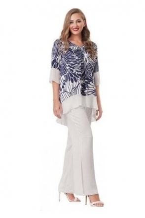 Two Piece Floral Print Trouser Set - Navy/Ivory - 2914