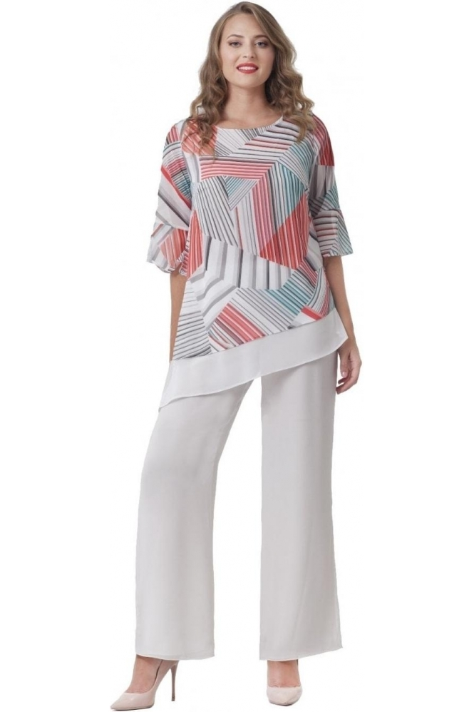 Allisons Abstract Asymmetric Hem Blouse - 2896