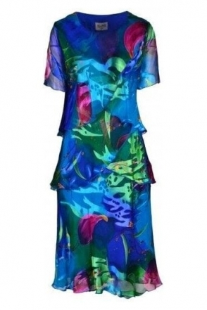 Abstract Leaf Print Silk Dress - Multi - 4797