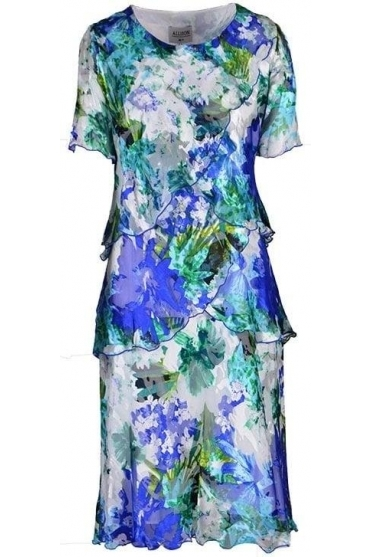 Floral Print Silk Dress - Green/Blue - 4797