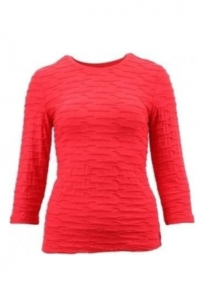 3d Textured Ruffle Top - Chilli Red - 16970002-44