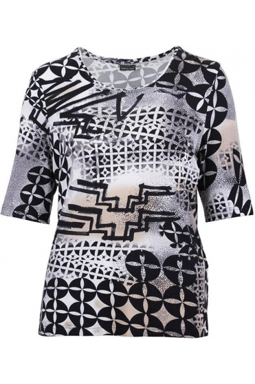 Abstract Print Short Sleeve Top - Black - 60430002-99