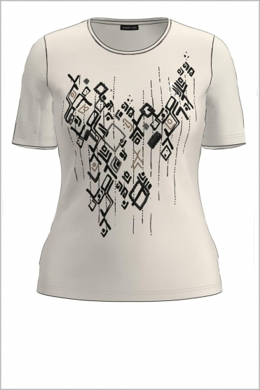 Abstract Print Short Sleeve Top - Cream/Black - 77000012-20