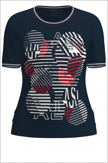 Abstract Print Short Sleeve Top - Navy/Red/White - 75960012-87