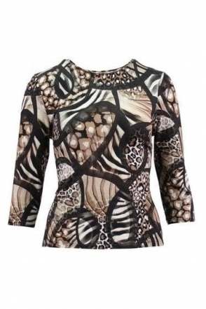 Abstract Print Top - Black/Taupe - 15500002