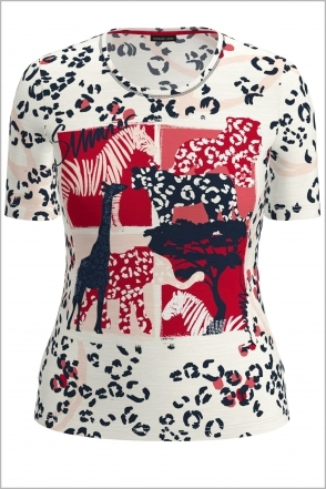 Animal Detail Short Sleeve Top - Red/Navy/White - 76040012-12