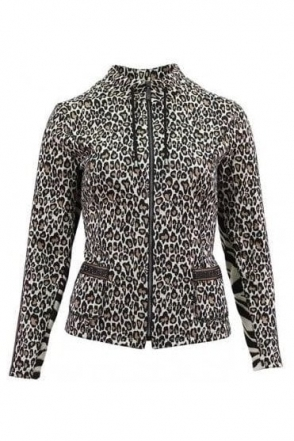 Animal Print Fine Knit Jacket - Taupe - 15540002-34