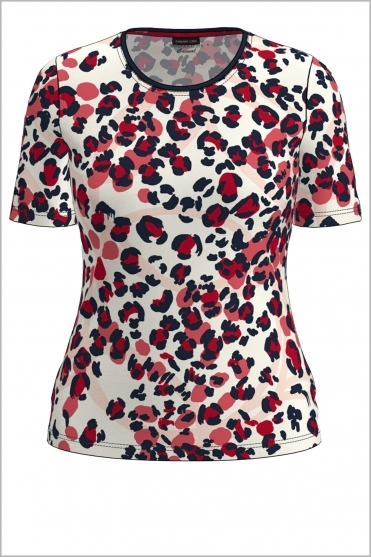 Animal Print Short Sleeve Top - Red/Navy/White - 76020012-45