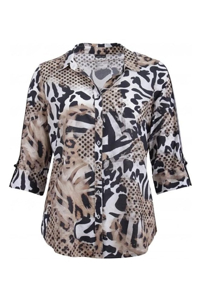 Barbara Lebek Animal Print Sleeve Detail Blouse - Black/Beige - 60020002-26