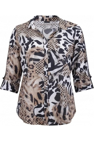 Animal Print Sleeve Detail Blouse - Black/Beige - 60020002-26