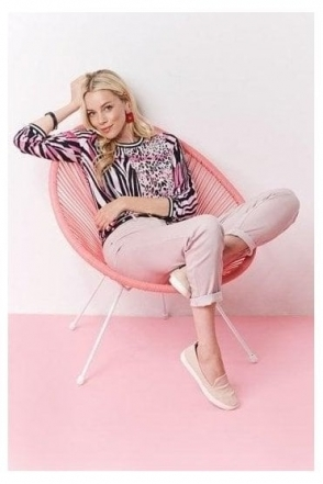 Animal Print Tie Hem Blouse - Pink - 55490002-53