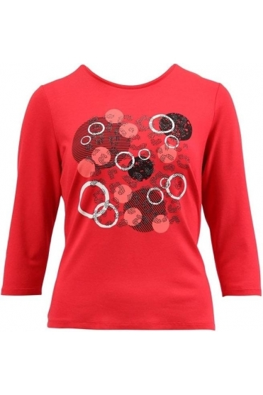 Circle Embellished Detail Top - Chilli Red - 16960002-44