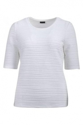 Embossed Short Sleeve Top - Off White- 60590002-12
