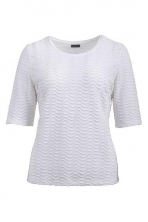 Embossed Wave Short Sleeve Top - Off White- 58660002-12