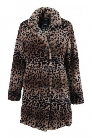 Faux Fur Animal Print Coat - 10750002-38