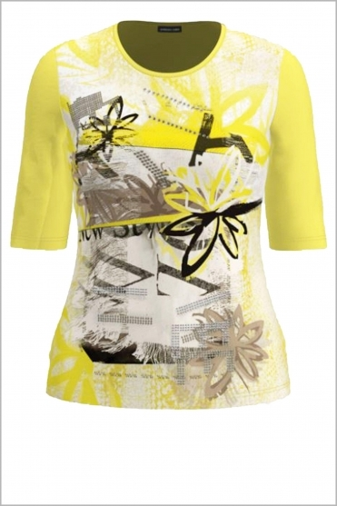 Floral Print Short Sleeve Top - Lemon - 77270012-14