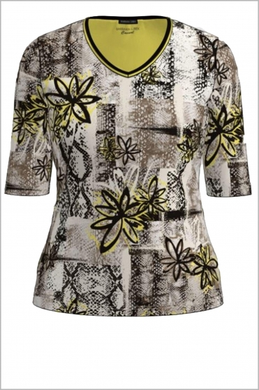 Floral Print V-Neck Top - Multi Cream - 77240012-35