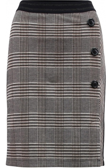 Glen Check Print Pencil Skirt - Black/Taupe - 15110002-34