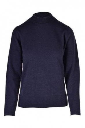 High Neck Fine Knit Jumper - Navy - 20160002-87