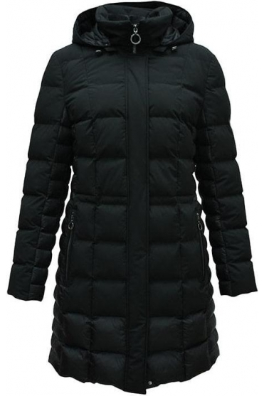 Longline Quilted Panel Coat - Black - 10940002-99