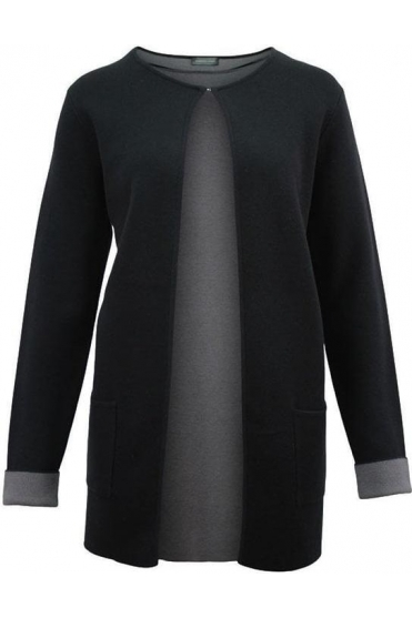 Longline Round Neck Knit Cardigan - Black - 16890002-99