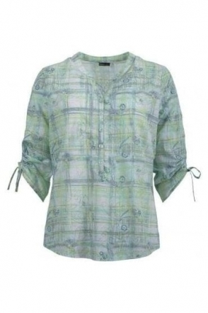 Paisley Print Button Detail Blouse - Green - 57410002-63