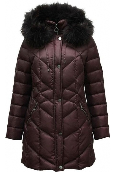 Quilted Panel Down Jacket - Burgundy - 11200002-58