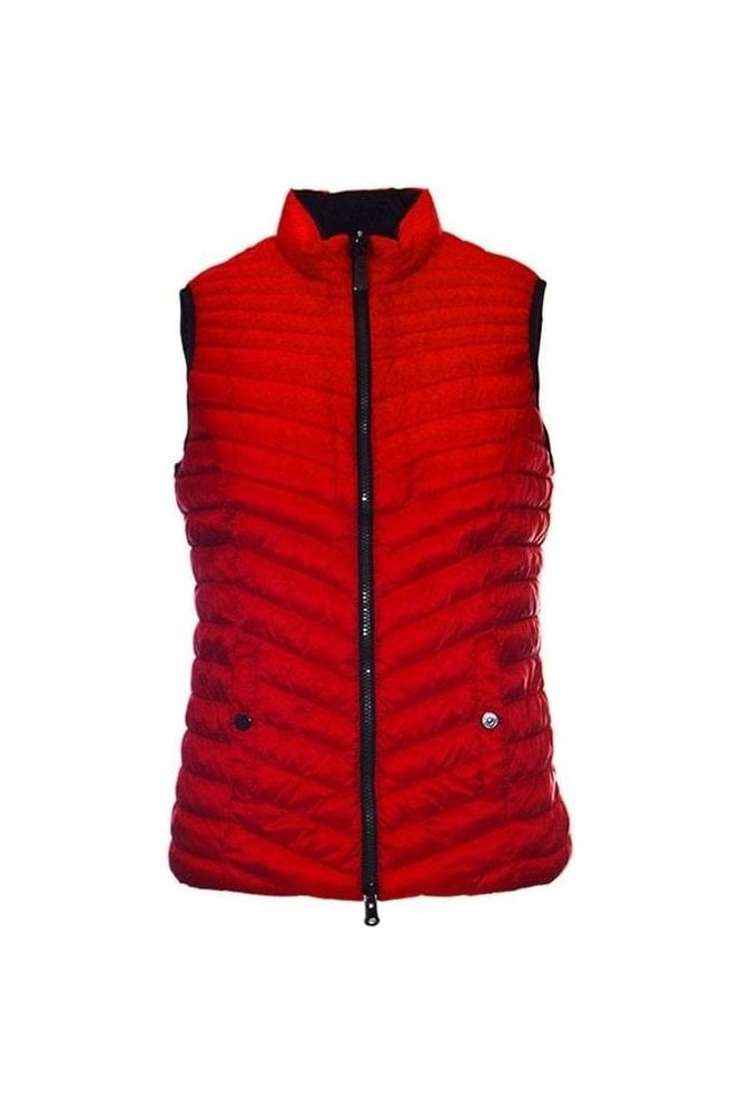 Barbara Lebek Reversible Down Free Quilted Panel Gilet - Red - 17320002-49