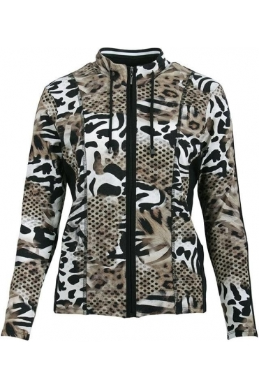 Safari Print Zip Cover Up - Black/Taupe - 60000002-26