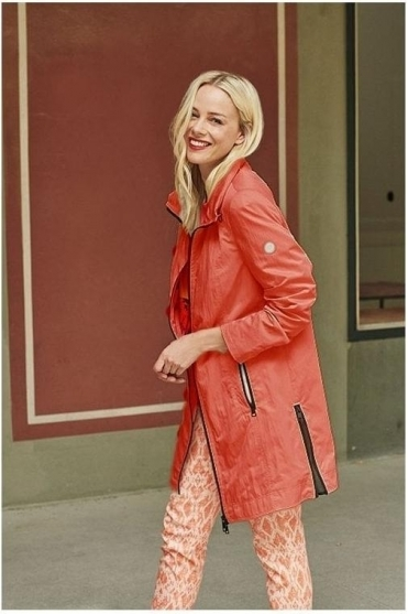 Satin Crinkle Look Lightweight Jacket - Coral - 50410002-45