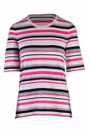 Stripe Detail Short Sleeve Top - Multi - 55090002-12