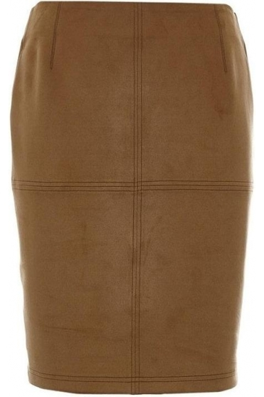 Suede Pencil Skirt - Taupe - 15050002-34