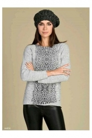 Animal Print Medium Knit Varese Jumper - Grey - Varese