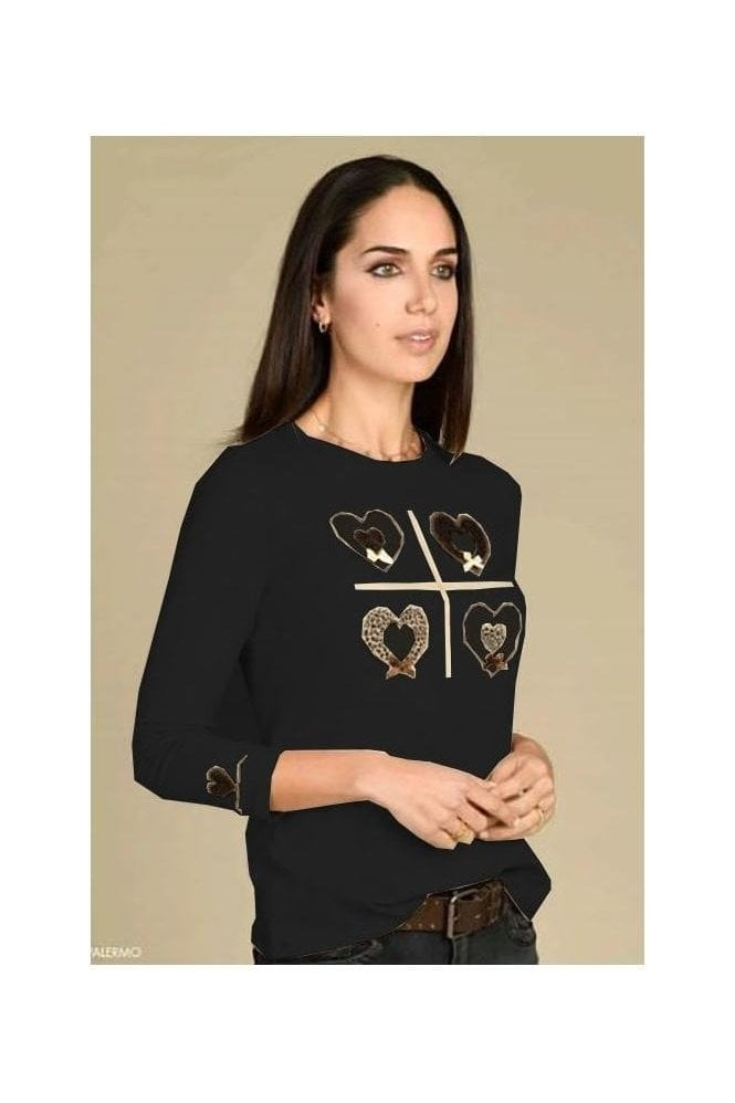 Bariloche Appliqué Detail Top - Black - Palermo