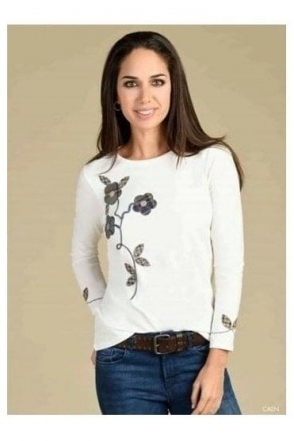 Appliqué Floral Detail Top - Natural - Caen