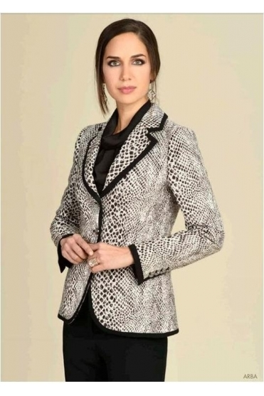 Arba Snake Print Tailored Blazer - Black/Taupe - Arba