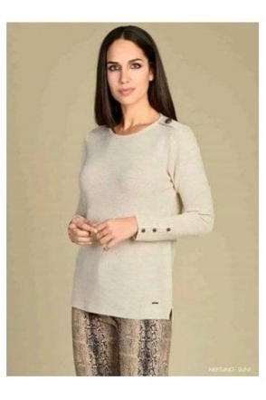 Button Detail Medium Knit Neptuno Jumper - Beige - Neptuno
