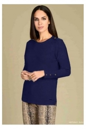 Button Detail Medium Knit Neptuno Jumper - Navy - Neptuno