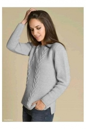Cable Knit Detail Jumper - Grey - Salonica
