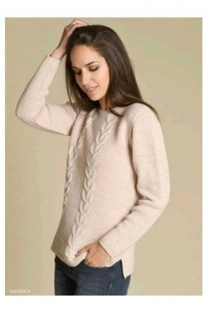 Cable Knit Detail Jumper - Rose - Salonica