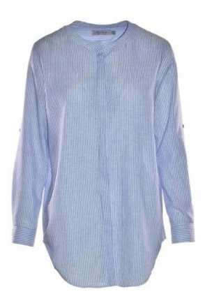 Collarless Stripe Roncal Shirt - Blue/White - Roncal